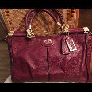 Coach Madison Pinnacle Carrie Satchel Handbag Raspberry 21503 Detachable Strap